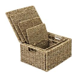 New - Set of 4 SeaGrass Storage Baskets Bins Containers w/ L