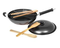 "Non Stick 12"" Fire Wok Set With Stainless Steel Grill Utensi"