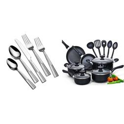 Cook N Home 15 Piece Non stick Black Soft handle Cookware Se