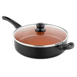 MICHELANGELO 5 Quart Saute Pan With Lid, Ultra Nonstick Copp