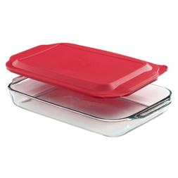Pyrex® 4-qt. Oblong Baking Dish with Red Plastic Cover
