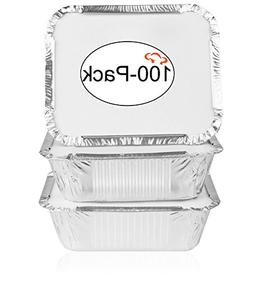 Tiger Chef Oblong Tin Foil Pans with Lids, Disposable Alumin