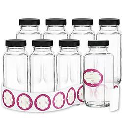Pack of 8 - 8 Ounce French Square Glass Jars with Blank Labe