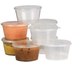 Plastic Condiment Cups with Attached Leak Resistant Lid, Bpa