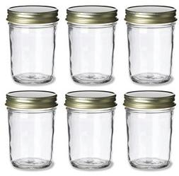 PremiumVials, 6 pcs, 8 oz, Mason Jars with Gold Lids for Jam