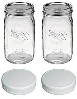 Ball Quart Jar, Wide Mouth, Set of 2 with 2 Plastic Lids