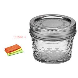 Ball Quilted Crystal Jelly Jar w/Lid & Band, 4 Ounces, 12 Co