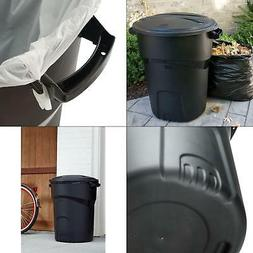 Trash Can with Lid Roughneck 32 Gal. Black Round Garbage Out