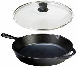 Lodge Seasoned Cast Iron Skillet w/Tempered Glass Lid  - Med