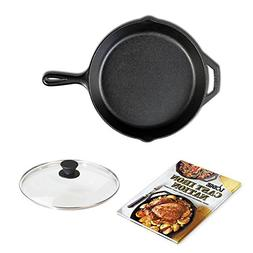 LODGE Pre-Seasoned Cast Iron Skillet , Tempered Glass Lid, a