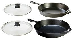Lodge Seasoned Cast Iron 4 Piece Bundle. Two Sets of Cast Ir