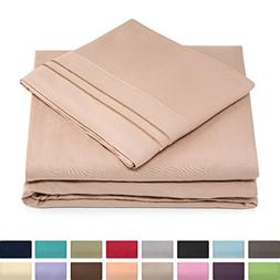 Full Size Bed Sheets - Taupe Luxury Sheet Set - Deep Pocket