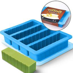 silicone butter mold tray with lid blue