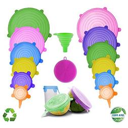 DARUNAXY Silicone Stretch Lids, 12 pcs of Assorted Color Var