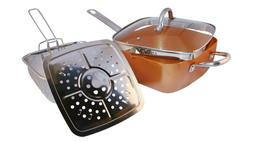 Copper Square Pan,Induction For Chef Glass Lid,Fry Basket,St