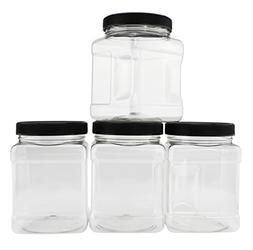 32-Ounce Square Plastic Jars ; Clear Rectangular 4-Cup Canis
