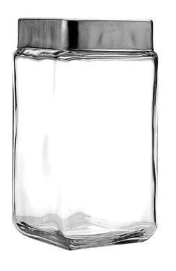 Anchor Hocking Stackable Jars with Brushed Aluminum Lid, 2-Q