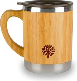 Stainless Steel & Bamboo Coffee Mug - Insulated Wooden Cup w