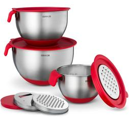 Stainless Steel Mixing Bowls Set of 3 with Grater Attachment