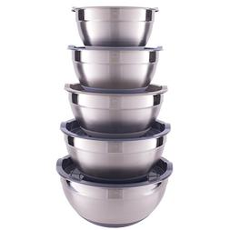 Set of 5 Nesting Stainless Steel Mixing Bowl Set with Non-Sl