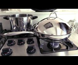 Stainless Steel Stir Fry Pan with Dome Lid 13-Inch Multi-Ply
