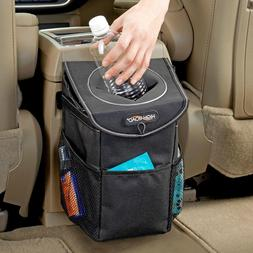 High Road StashAway Car Trash Can with Lid and Storage Pocke