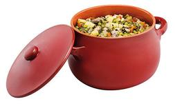Stew Pot with Lid Red Terracotta Dishwasher Safe Microwavabl