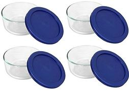 Pyrex Storage 2 Cup Round Dish, Clear With Blue Lid, Pack Of