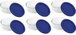 Pyrex Storage 2-Cup Round Dish, Clear with Blue Lid Case of
