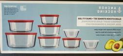 Anchor Hocking 16-Piece Storage Set with Red Plastic Lids by
