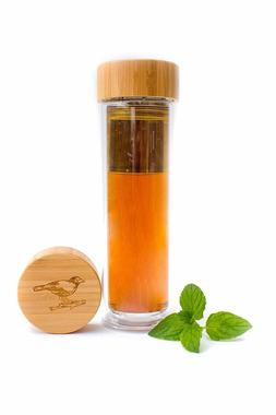 Tea Infuser Glass Bottle with Bamboo Lid Stainless Steel Str