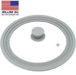 Universal Lid for Pots Pans Skillets, Glass with Silicone Ri