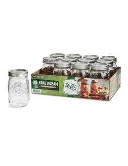 Ball Regular Mouth Pint Glass Mason Jars with Lids and Bands